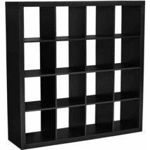 Tall Cube Bookcase 16 Shelf Modern Storage Organizer Black Wood