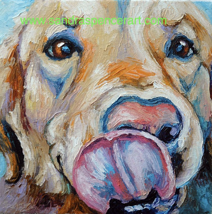 Original Golden Retriever Slurp Oil Painting 10x10 65 00 Via