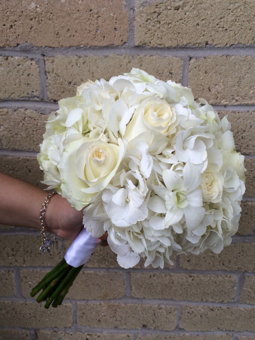 White Hydrangea Rose And Orchid Bouquet By Houston Wedding Florist Kc Events Florals Weddingflowers White Wedding Bouquets Wedding Bouquets Wedding Flowers