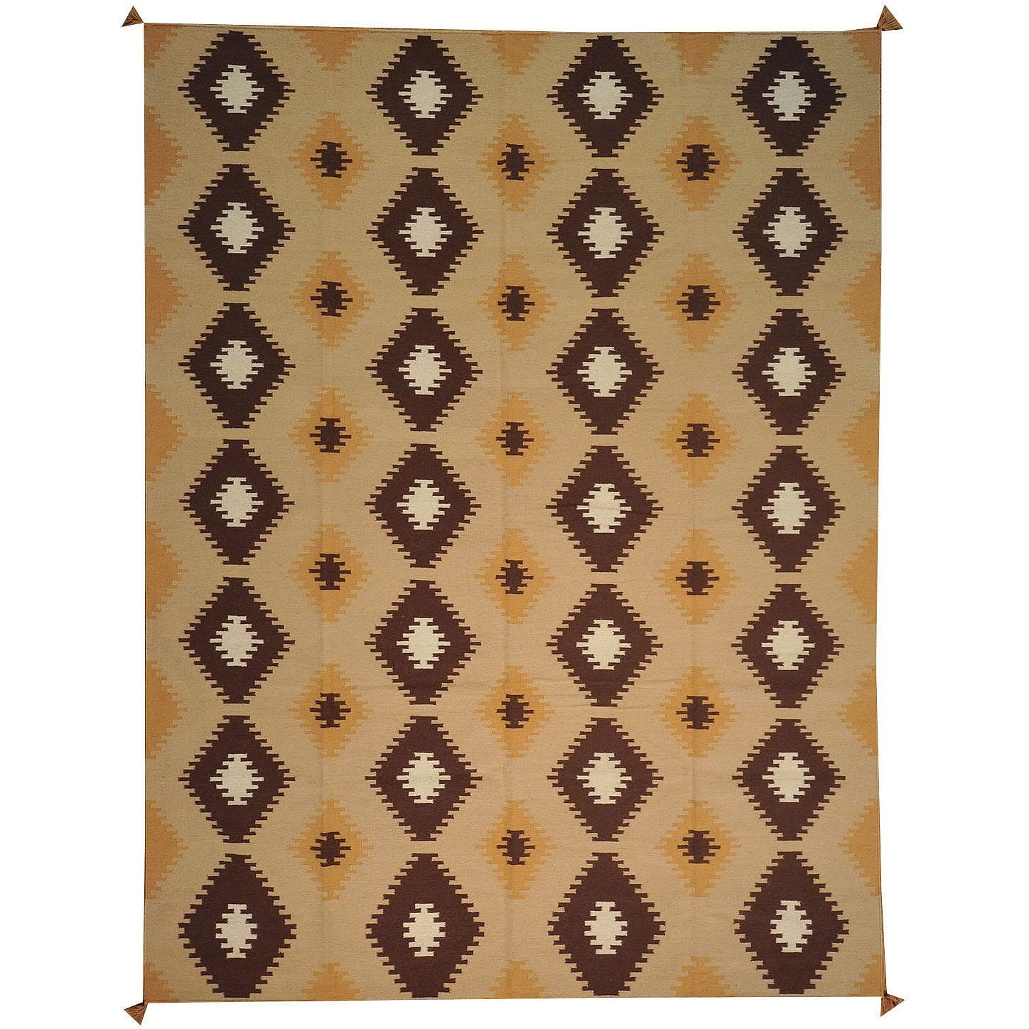 1800getarug Hand Woven Style With Diamond Motifs Design Wool Area