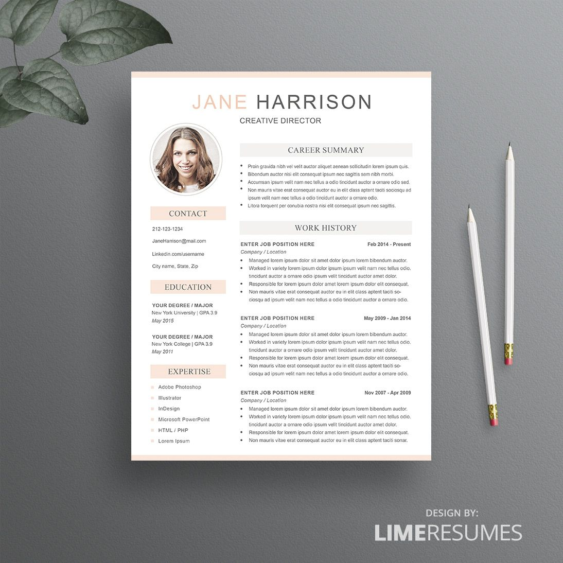 Resume Template With Photo  Photo Resume With  Pages