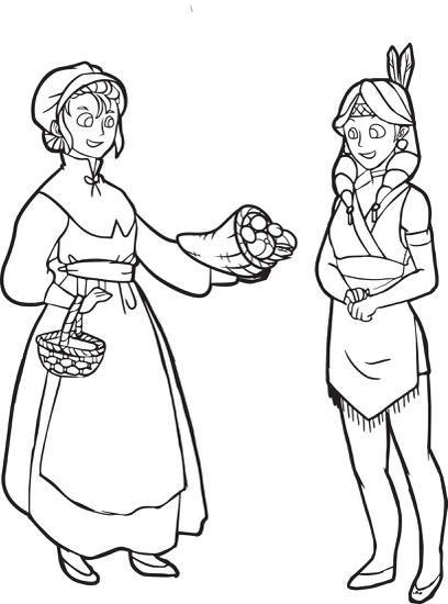 FREE Printable Pilgrim and Indian Coloring Page for Kids | Pilgrim ...