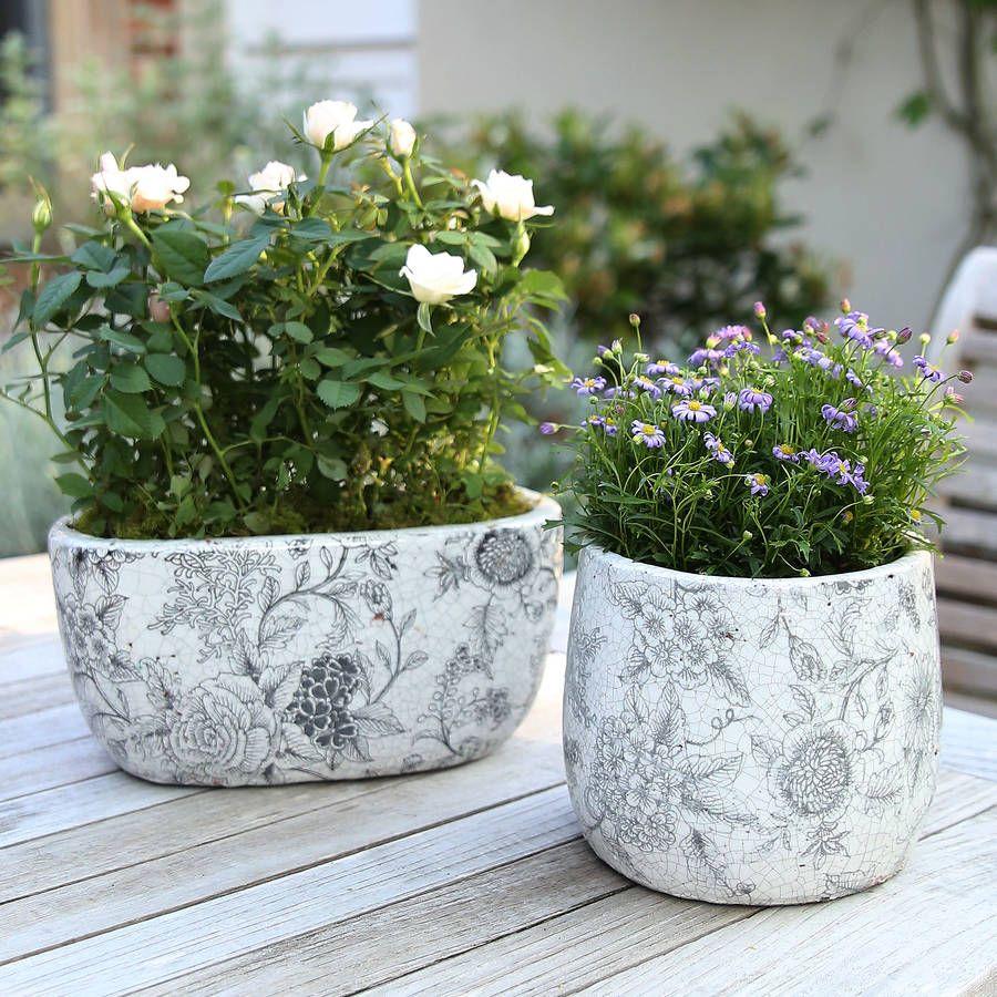 Patterned Vintage Plant Pot Garden Pots Plants And Patterns