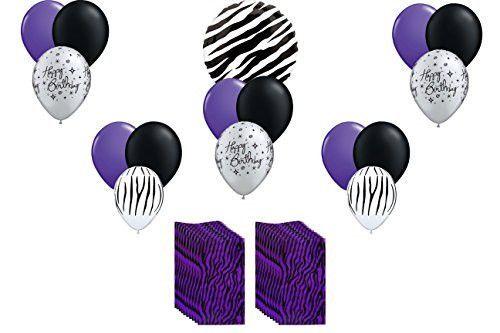 Purple Zebra Safari Balloon Bouquet w/ 20 CT Crafty Bags