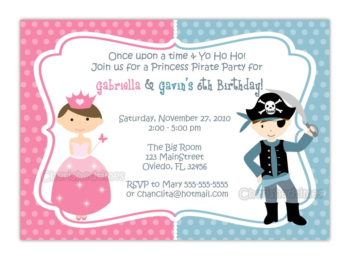 Princess And Pirate or Knight Zebra or Dots Background Birthday – Free Pirate Party Invitations