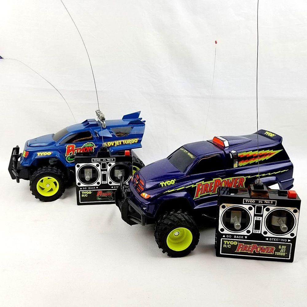 2 Vintage Tyco RC Remote Control Toy Lot Python Jet Turbo & Fire