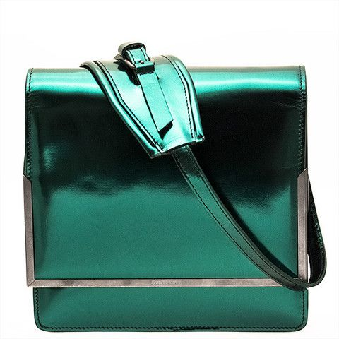 Patent Green Orchid Bag