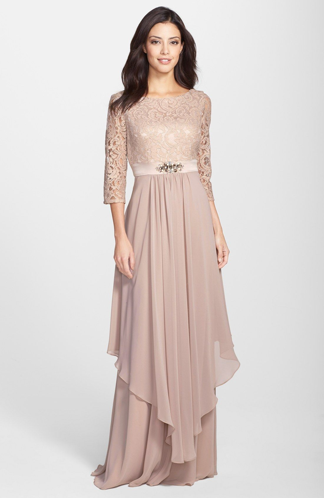 Free shipping and returns on Eliza J Embellished Lace & Chiffon Gown ...