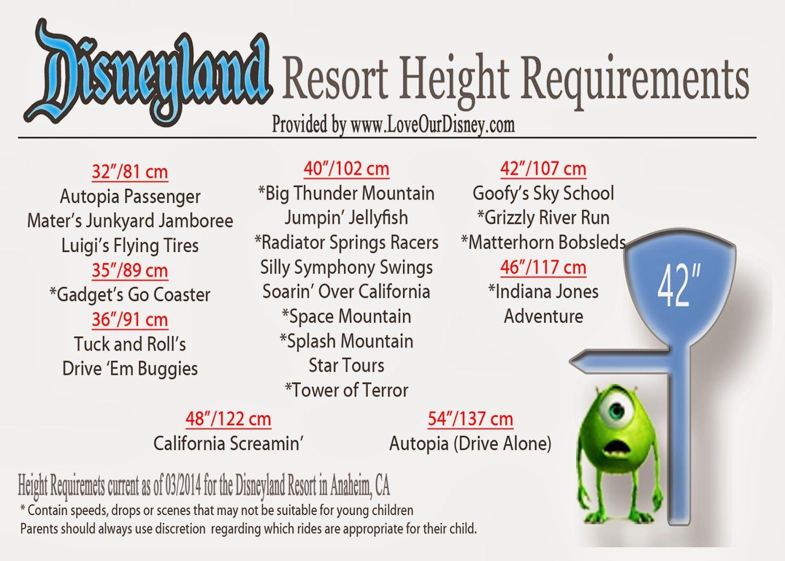 Disneyland Ride Height Requirements Disneyland