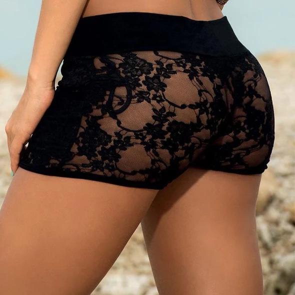 Sexy black vinyl women bra and shorts set