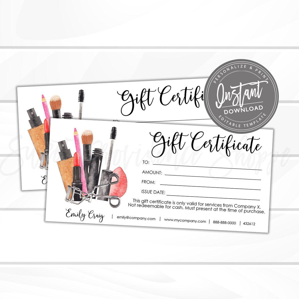 Editable Gift Certificate Printable Makeup Gift Card Diy Etsy Printable Gift Certificate Gift Certificates Diy Gift Card