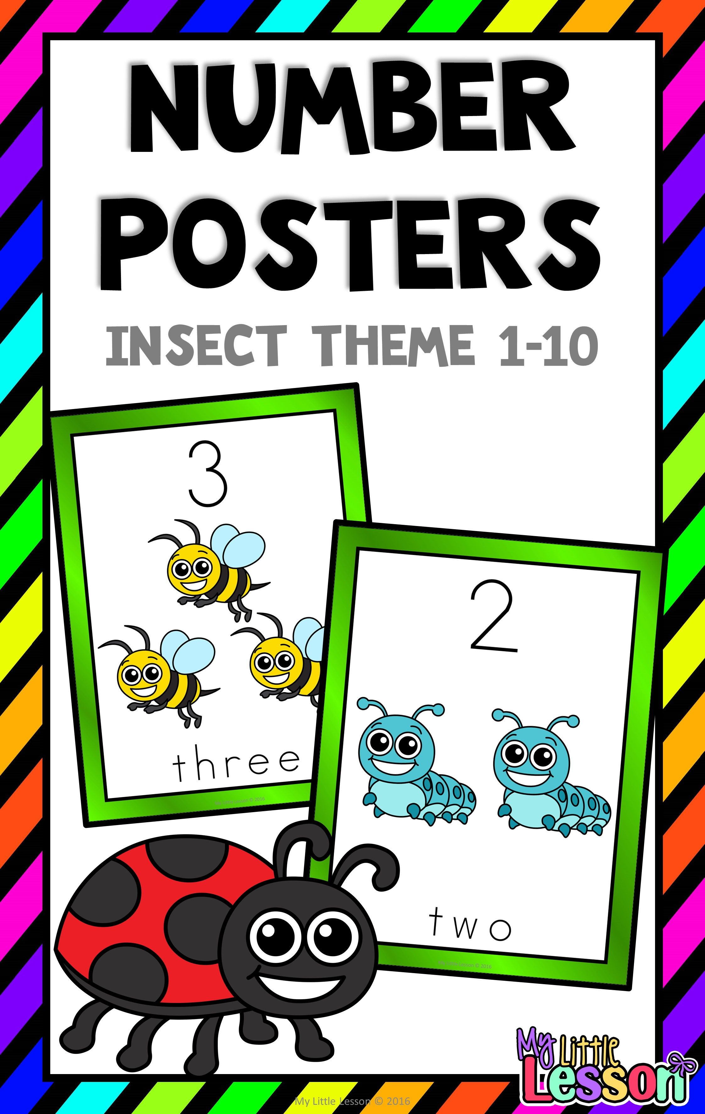 Number Posters 1 10 Insect Theme