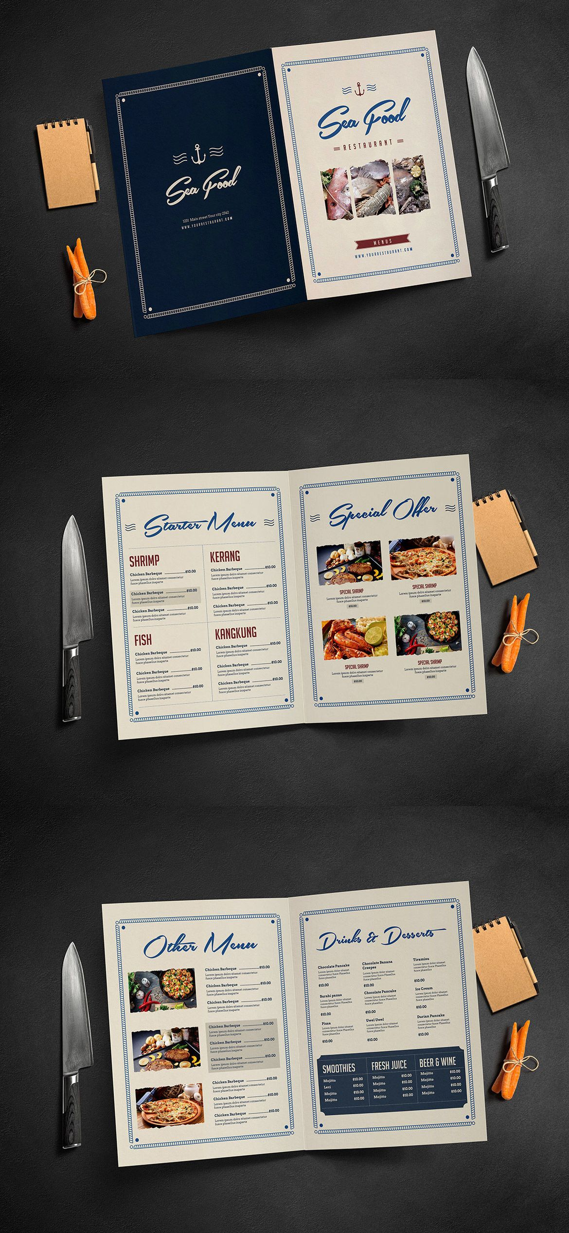 Rustic Sailor Food Menu  Pages Template Psd  Best Food Menu
