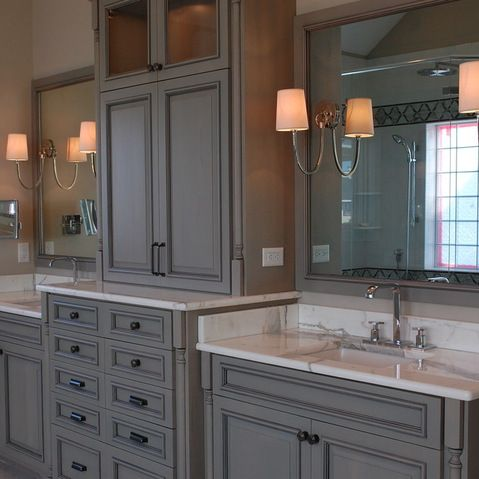 Separated Vanities And Sinks With A Great Linen Closet In The Middle Love It