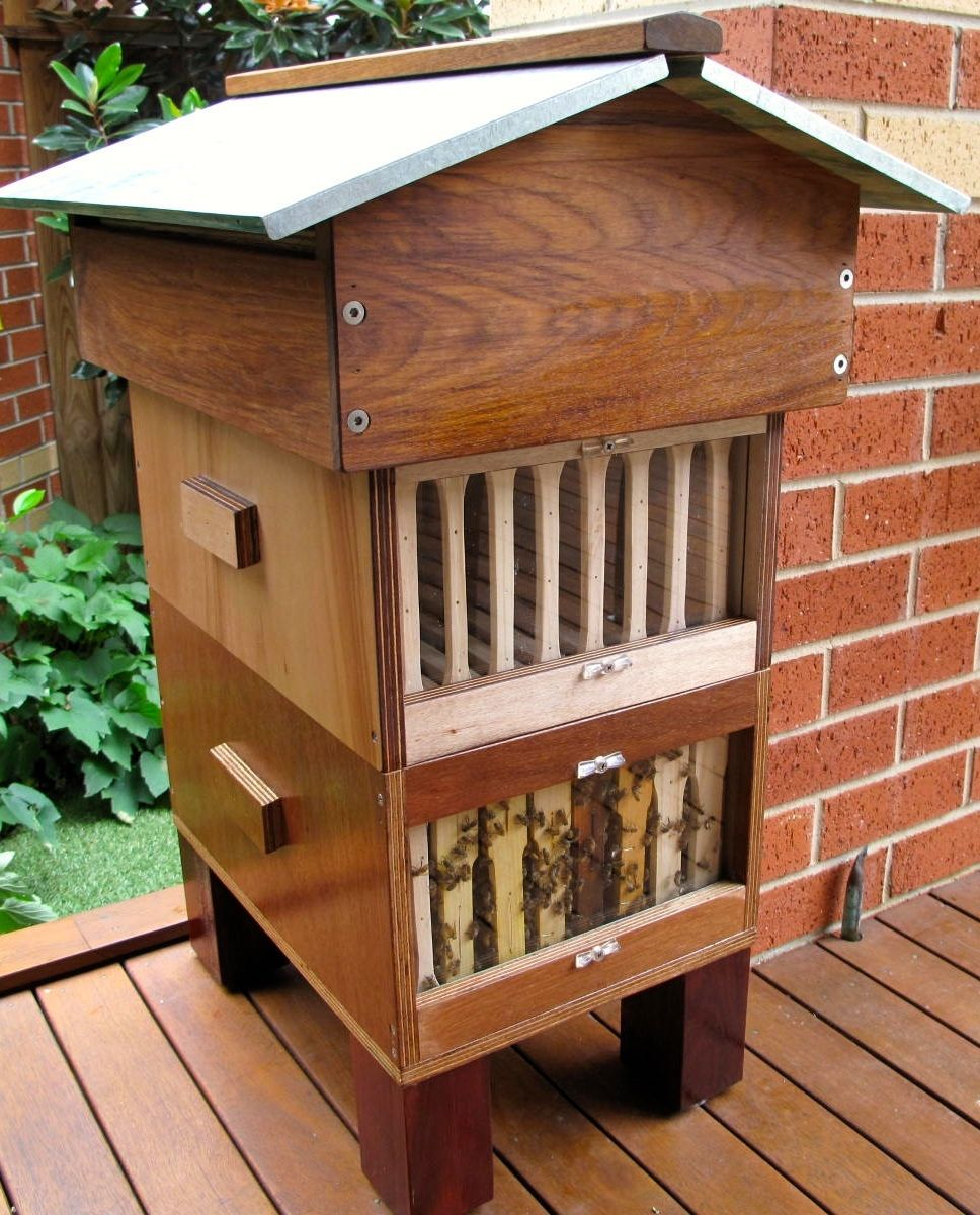 Warre style 2 box bee hive. Vented Gabel roof crafted from