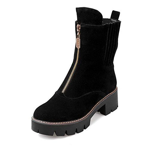 AmoonyFashion Womens Solid Imitated Suede KittenHeels Zipper Round Closed Toe Boots Black 39 *** You can get more details by clicking on the image.