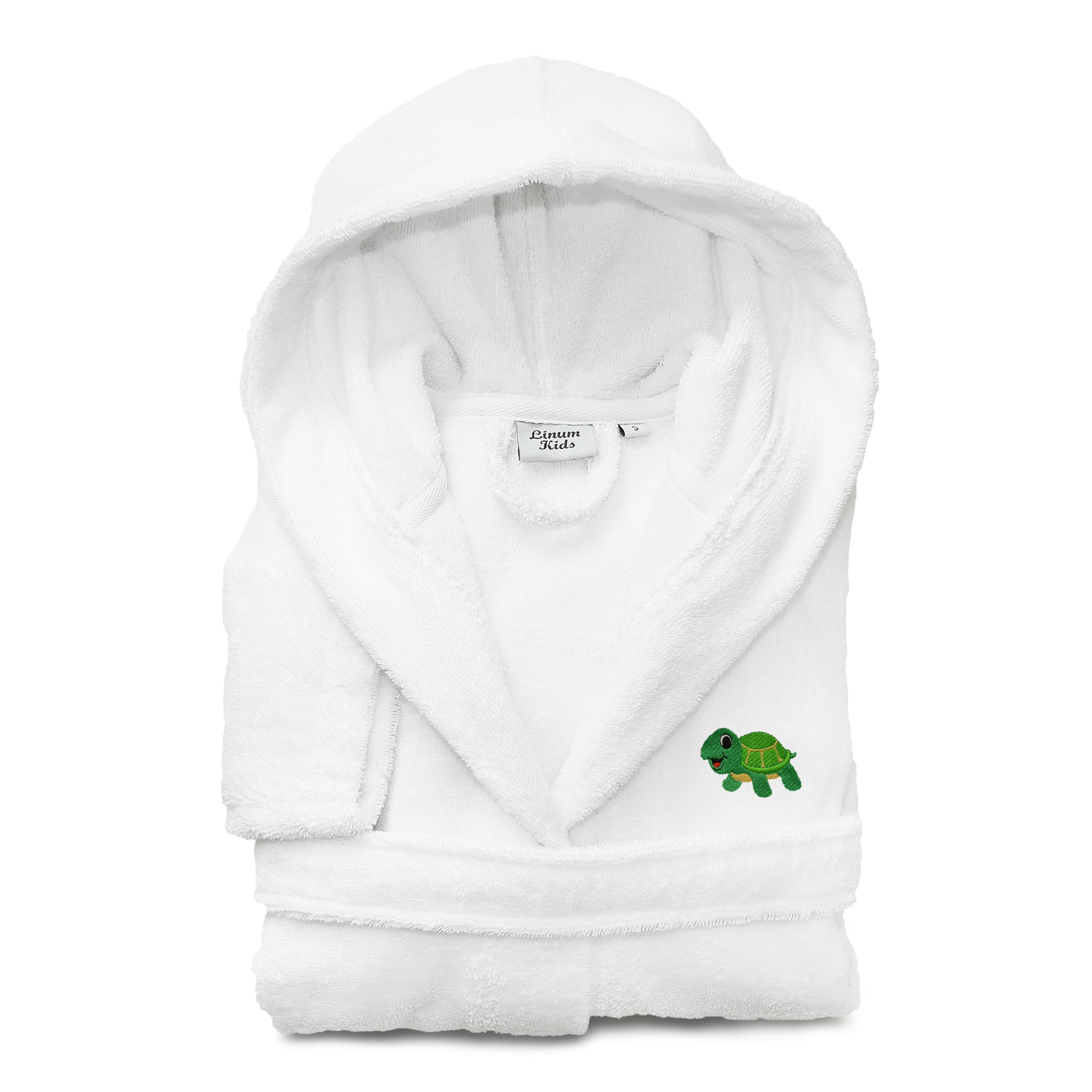 Sweet Kids Set of 3 Hooded Terry Bathrobe with Green Turtle and 2 Hand Towels