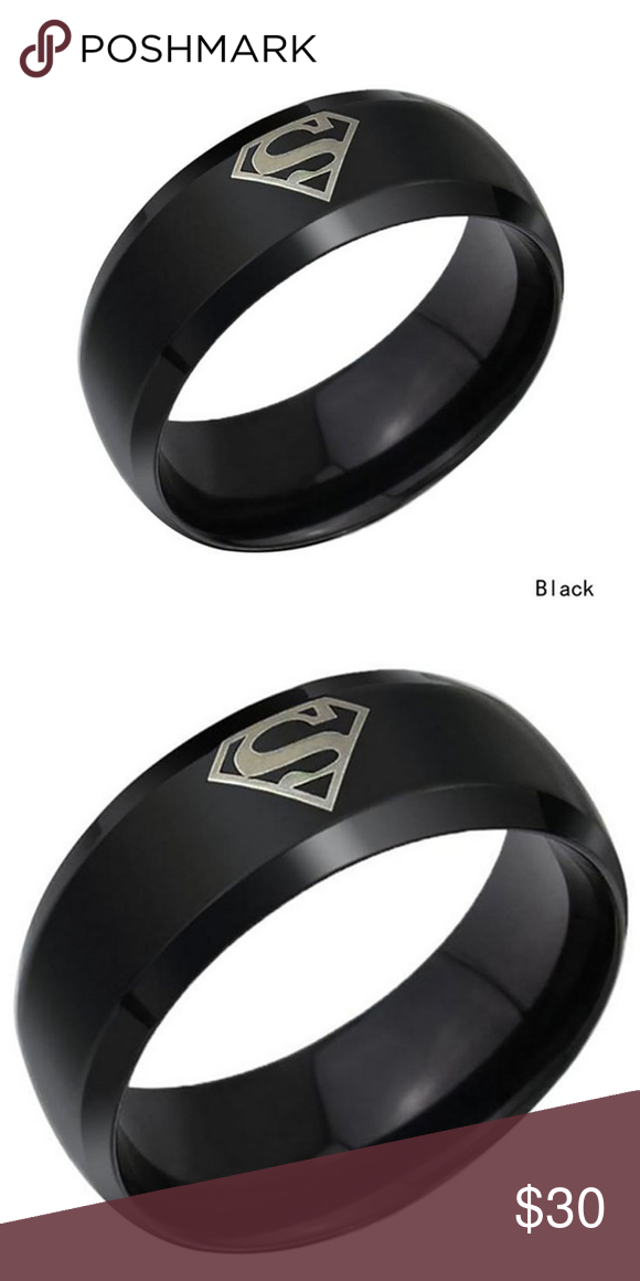 Superman Logo 8mm Men S Stainless Steel Band Ring 100 Brand New Price For 1 Piece Of Ring Material Stainless Size 10 Rings Band Rings Stainless Steel Band