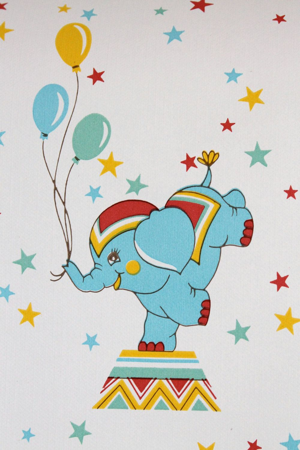 Vintage unpaste Wallpaper of blue circus elephants with balloons - red, yellow and blue - Price per yard