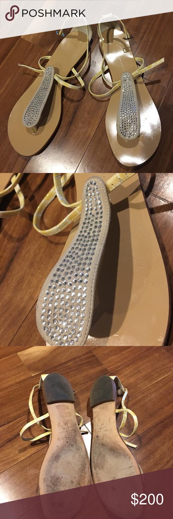 Giuseppe Zanotti Crystal Embellished Sandal Giuseppe Zanotti Crystal Embellished Patent Crocco Thong Sandal. Size 7. In great condition. Retail $795. Giuseppe Zanotti Shoes Sandals