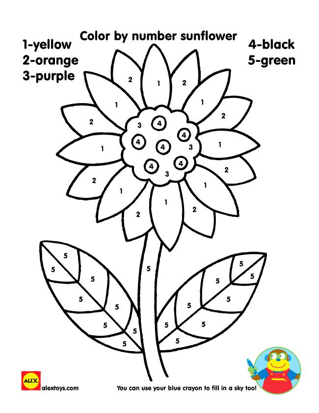Color By Number Sunflower Printable Sunflower Coloring Pages
