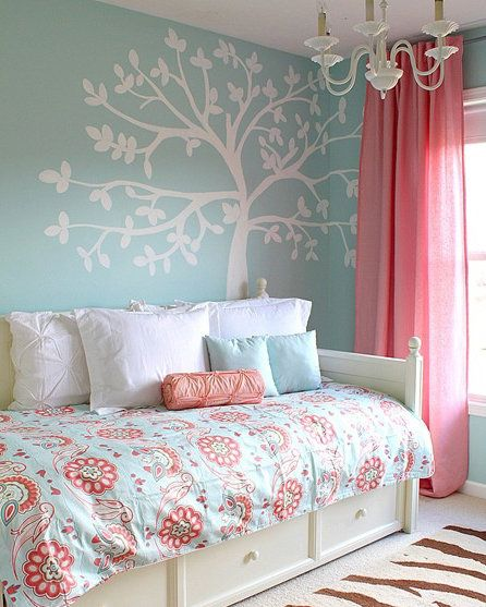 Dream bedroom for a daughter. She would love this as a little girl and as a teen. Love the tree painted on the wall