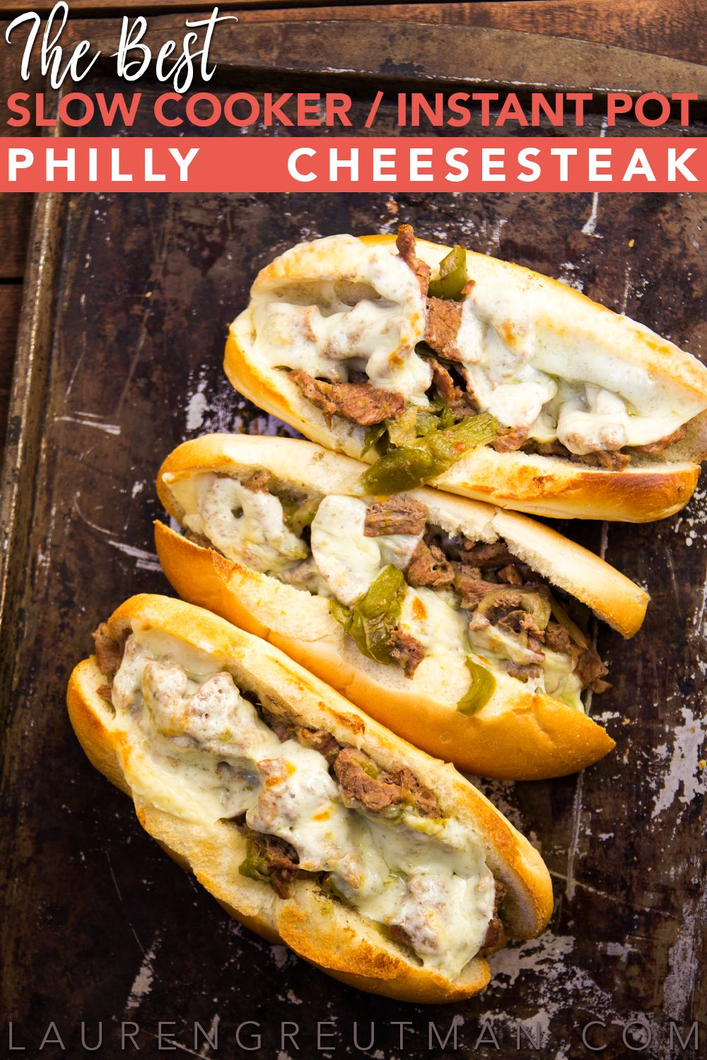These Slow Cooker Cheesesteak sandwiches are AMAZING! Melt-in-your-mouth good. And I've included Instant Pot instructions as well!