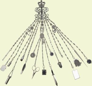 "This large chatelaine was purchased by Queen Victoria in January 1850. Crowned royal chatelaine...a woman who obviously needed many ""tools"" to run her empire!"