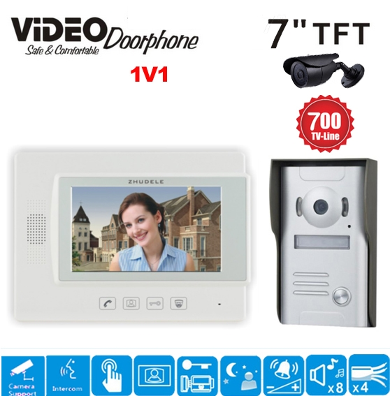 109.25$  Watch here - http://alium0.worldwells.pw/go.php?t=32710411645 - ZHUDELE 7 Inch Display Wired Video Door Phone Touch button Doorbell Intercom Night Vision 1V1 700TVL HD Home House Security