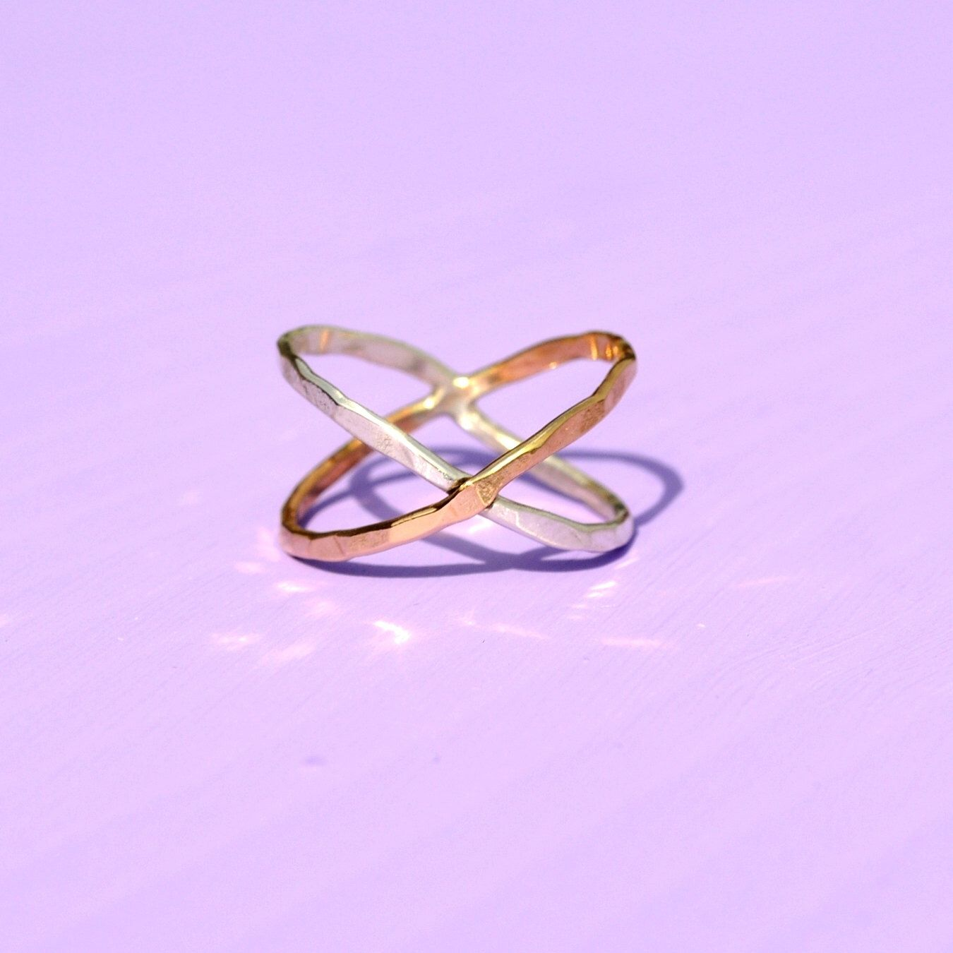 X Ring in Gold + Silver. Hammered Criss Cross Ring. by MetalogicalMetals on Etsy https://www.etsy.com/listing/184625339/x-ring-in-gold-silver-hammered-criss