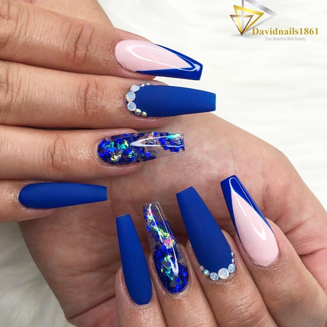 Titanium Nails Spa On Instagram Royal Blue Royal Blue Nails Royal Blue Nails Designs Blue Acrylic Nails