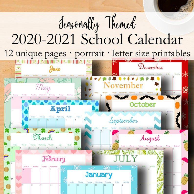 2020 2021 Printable Monthly Calendar, 2020 2021 Printable ...