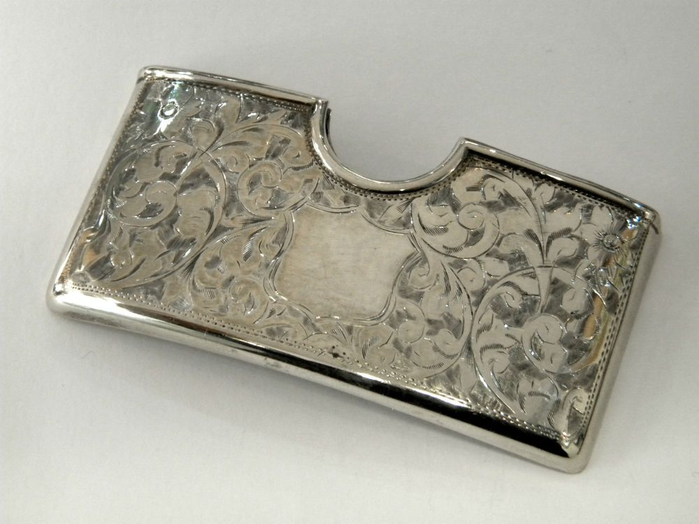 Antique edwardian solid silver card case birmingham 1907 business ...
