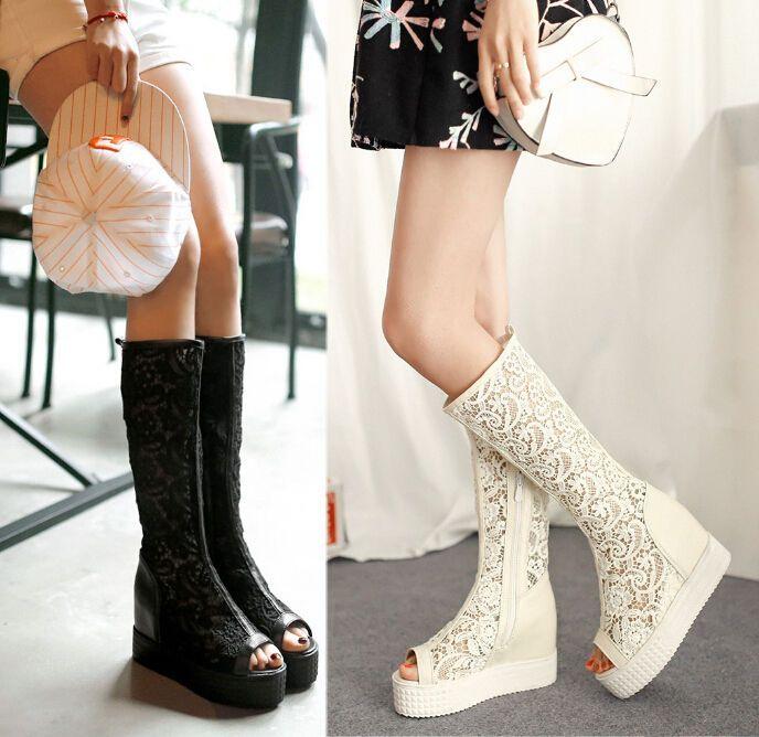 Fashion womens lace mesh peep toe knee high boot Zip hidden heel Platform US4-11 #Unbranded #FashionKneeHigh