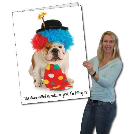 3 stock design giant birthday greeting card funny clown dog 2x3 happy birthday funny clown dog giant greeting card wenvelope m4hsunfo