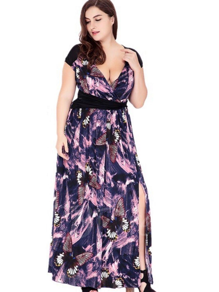 Púrpura más el vestido maxi de las mujeres profundas del v-cuello ...
