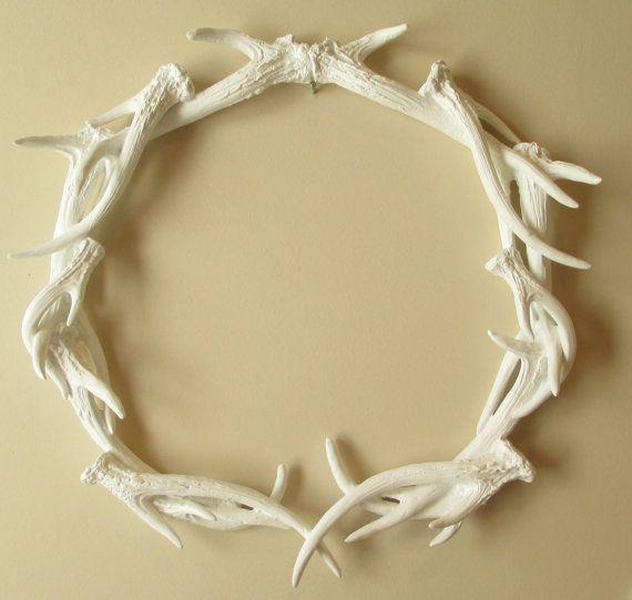 Wreath, Antler Wreath, Woodland Decor, Deer, Antlers, White Antlers, Antler,  Wedding Gift, Home Decor, Faux Antler Wreath, Antler Decor