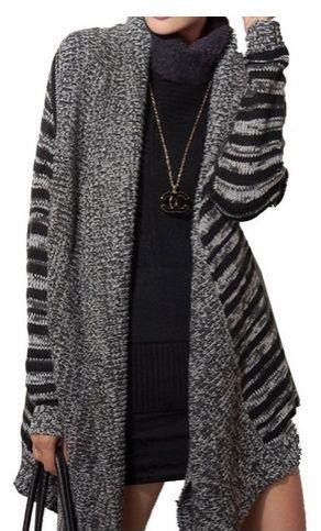 ELLAZHU Women Stripe Asymmetric Hem Cardigan Sweater Coat