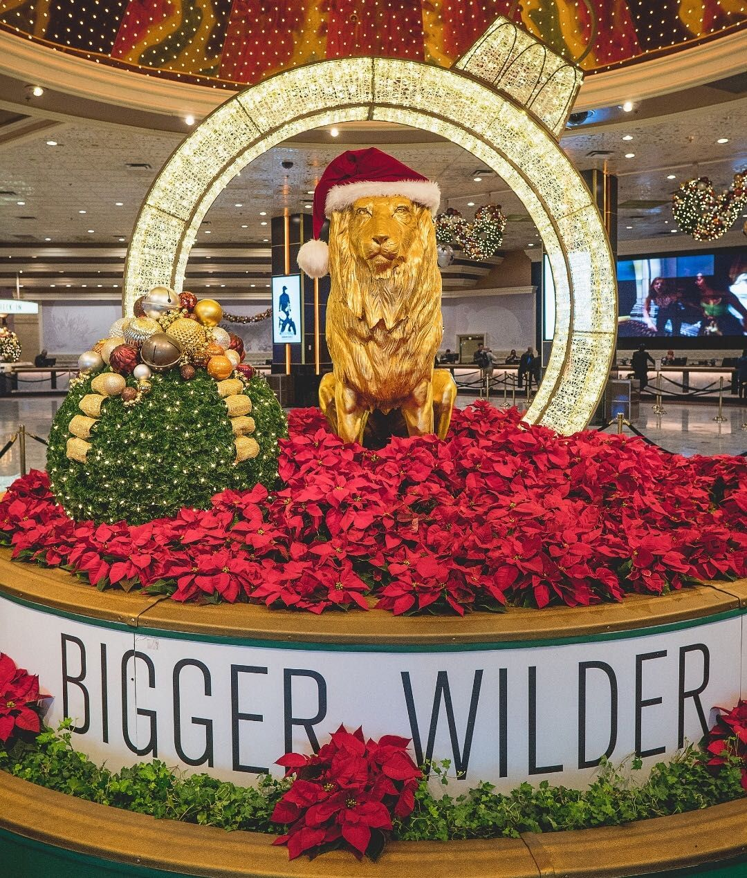 Christmas In Las Vegas Would Not Be Complete Without Mgm Grand S Leo Dressed Up For The Season Winter In La Las Vegas Hotels Vegas Hotel Mgm Grand Las Vegas