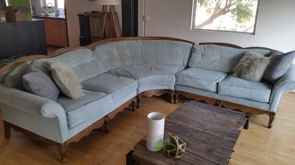 Craigslist Victorian Sectional Sofa. Custom Uphosltered (comes With Roll Of  Fabric For Future Repairs