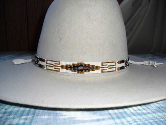cd61a2349837b0 Beaded Geometric Design Hatband in Dark gold and neutral colors on a Cream  Background. This band is