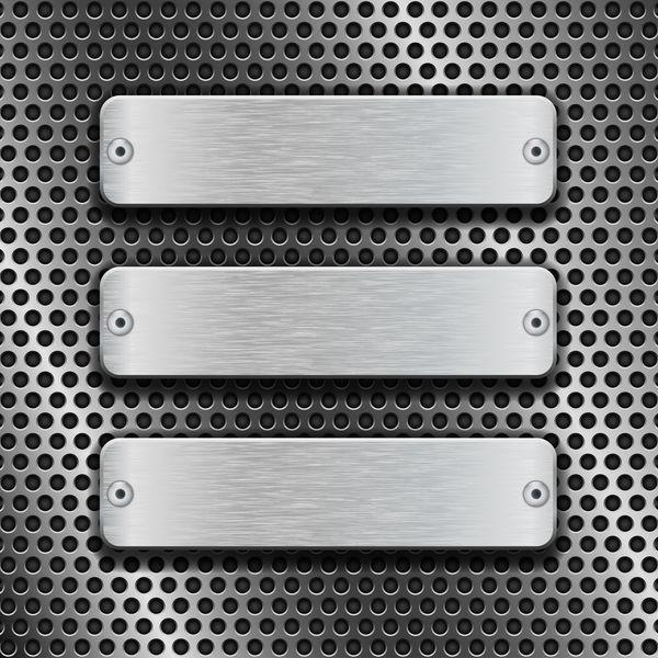 MetallBanner mit perforierten Hintergrund Vektor 03