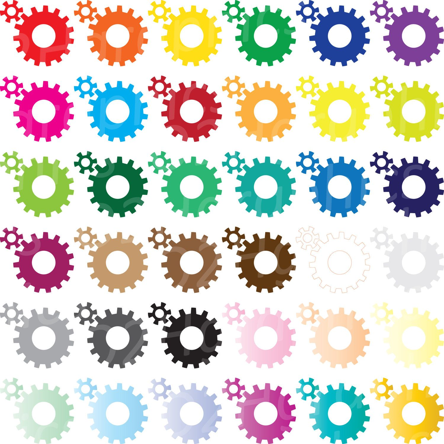 NOV 20 SALE Colorful Gears Clipart Gear Clip Art Gears