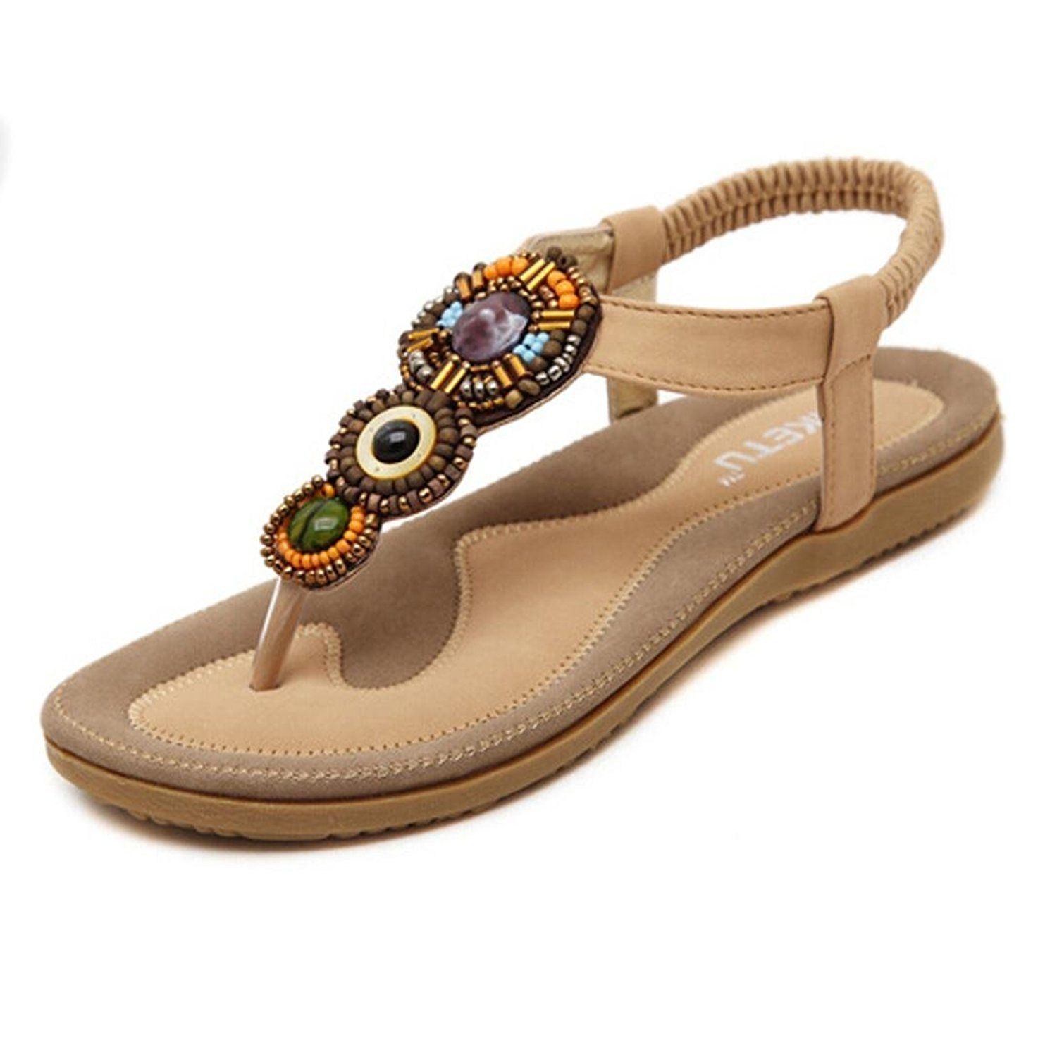 b4af5de64eeacf Rumas® Women s Fashion Sweet Beaded Toe Flats Bohemian Sandals -- Check out  the image by visiting the link.  sandals