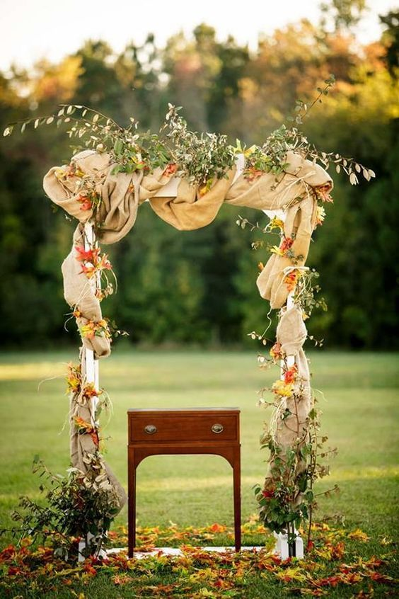 40 outdoor fall wedding arch and altar ideas arch altars and wedding rustic burlap fall wedding arch junglespirit Choice Image