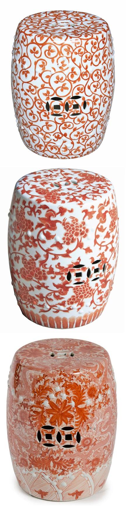 Orange Garden Stool | Orange Ceramic Stools | Orange Porcelain Stool |  Orange Ceramic Stool |