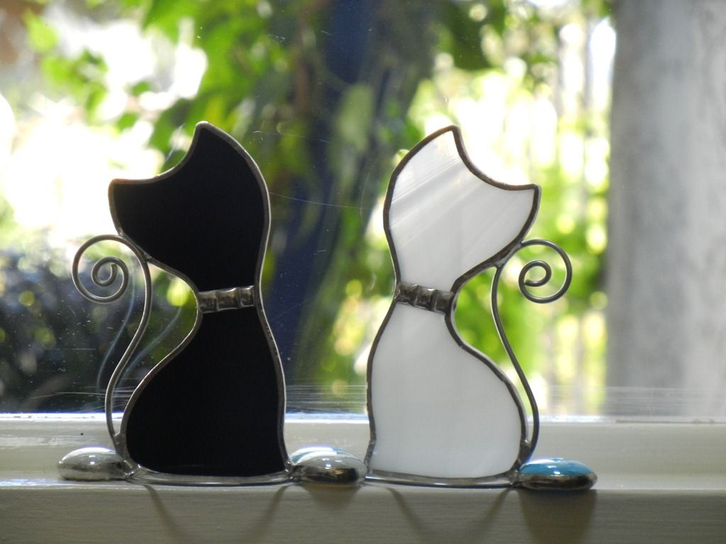 Glass cat ornaments - Beginner Stained Glass Patterns Stained Glass Kitten Window Ornaments
