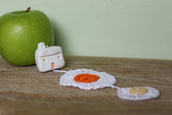Little clay house and crochet doilie wall hanging by Lilhouses, $16.00
