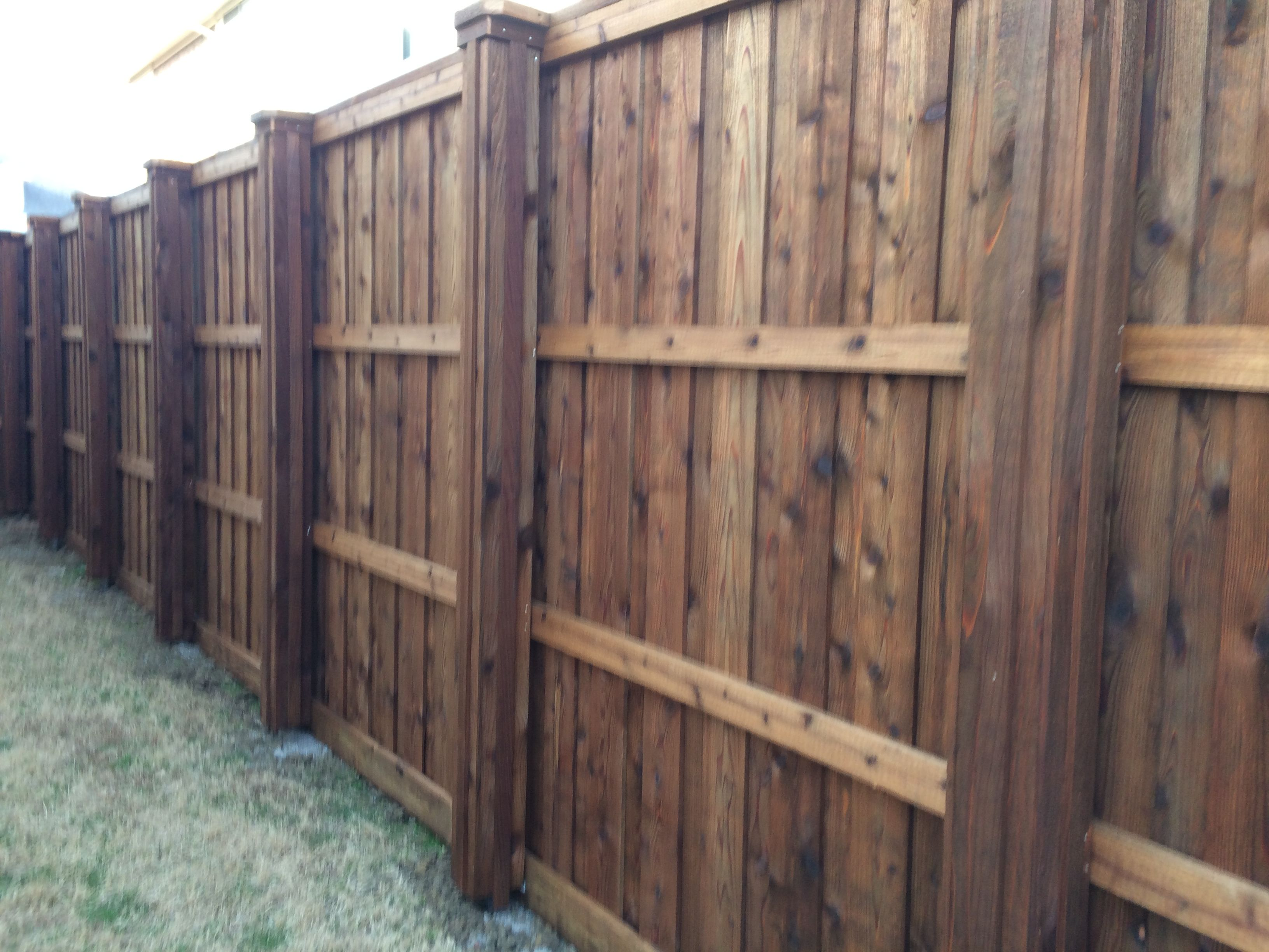 Privacy Fence W Boxed In Metal Posts Wood Fence Post Metal Fence Posts Wrought Iron Fence Cost