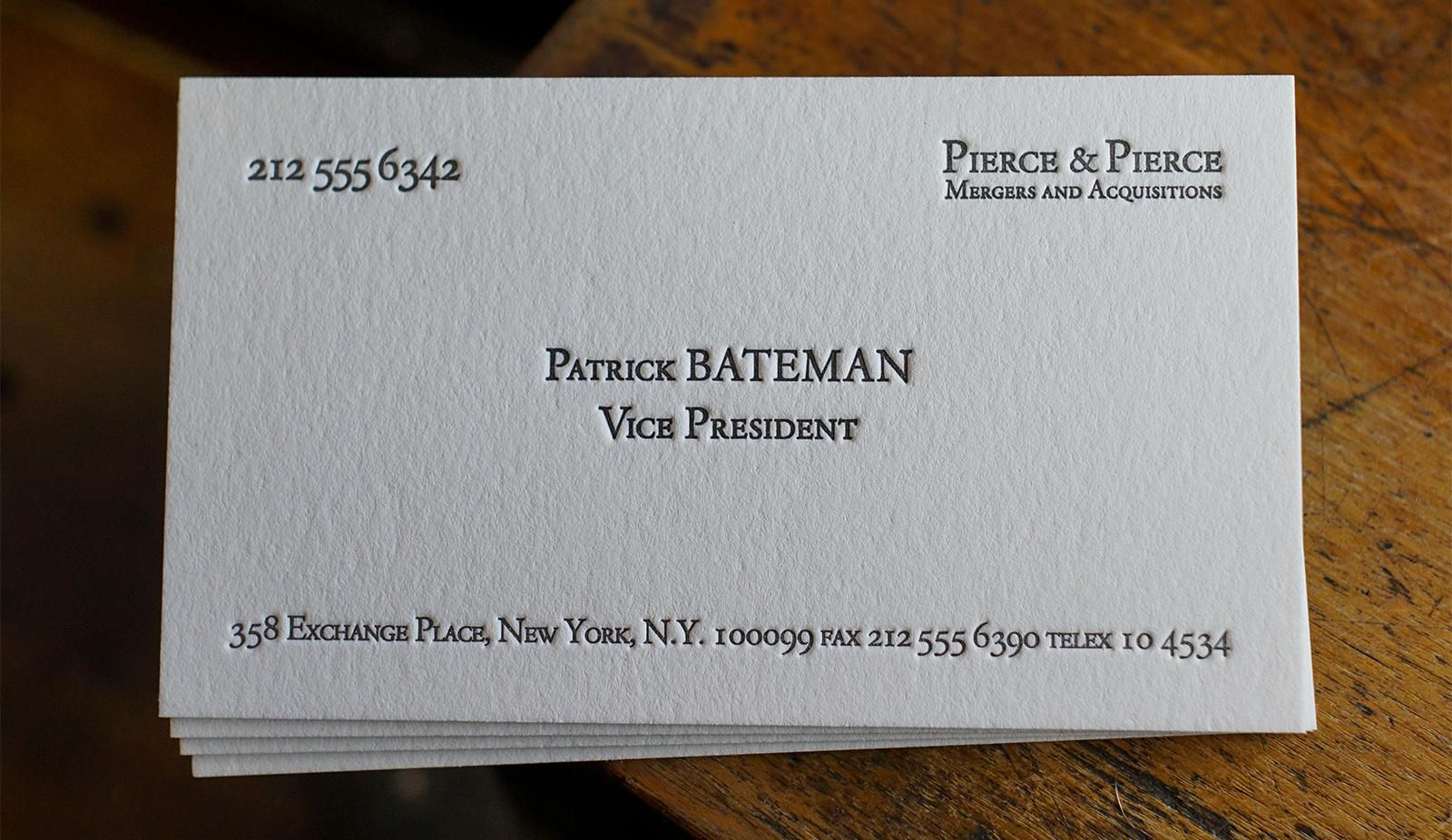The Patrick Bateman Pictured On 220 Stock Printing Business Cards Custom Business Cards Visiting Cards
